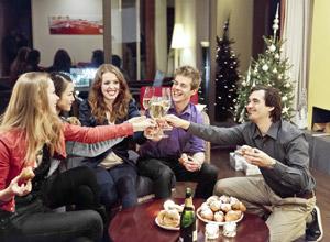 Weihnachten mit Freunden und Familienurlaub